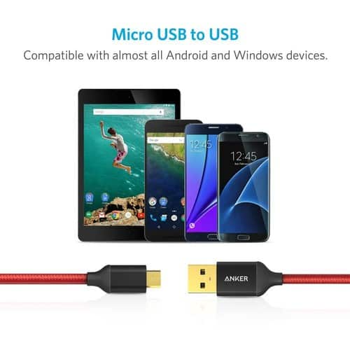 [2-Pack] Anker 6ft / 1.8m Nylon Braided Tangle-Free Micro USB Cable with Gold-Plated Connectors for Android, Samsung, HTC, Nokia, Sony and More (Red) $7.49