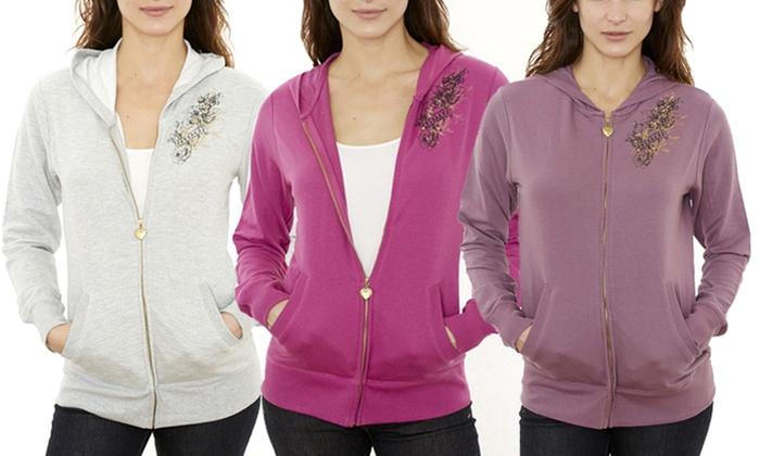 Jordacshe Women's Zip-Up Cotton Hoodie For $10.99 @ Groupon