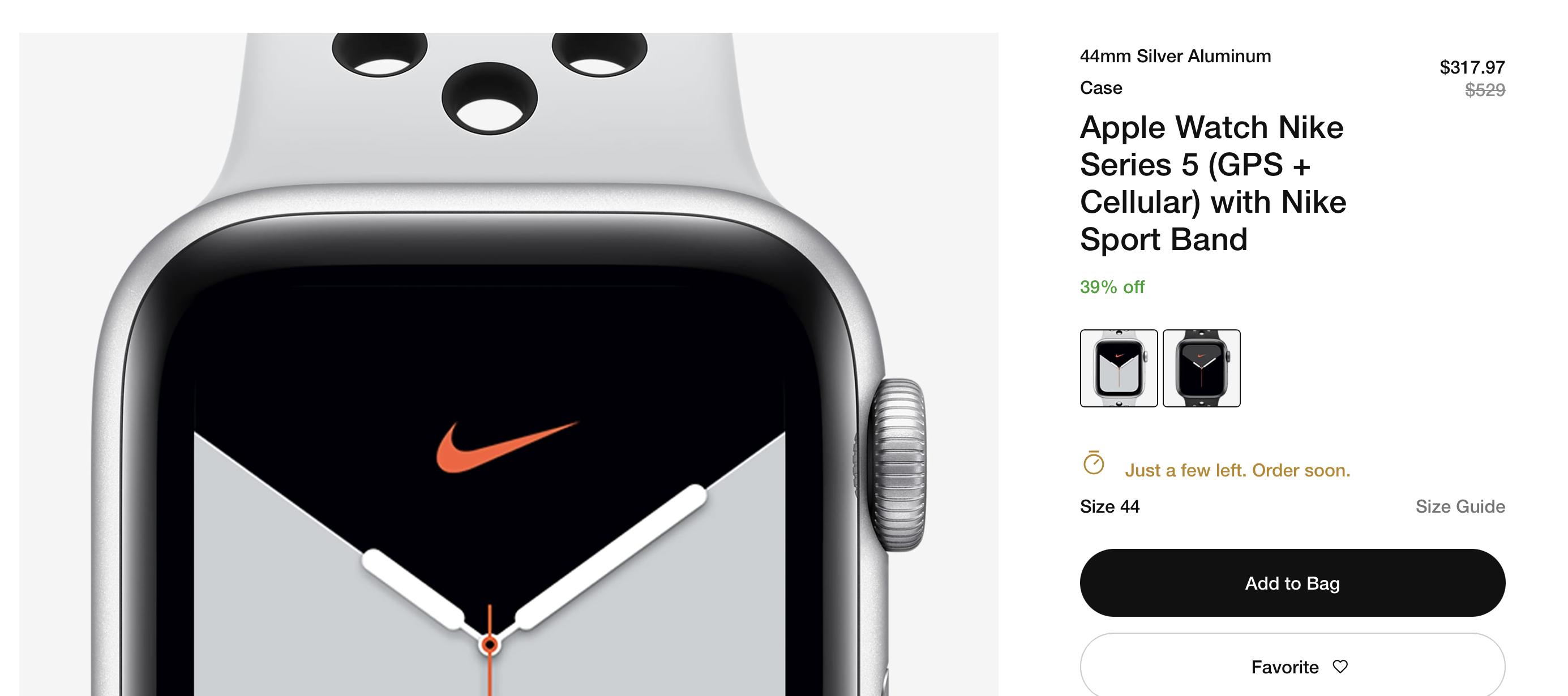 Apple Watch Nike 5 44mm Silver Aluminum (GPS + Cellular) 317.97 $317.97