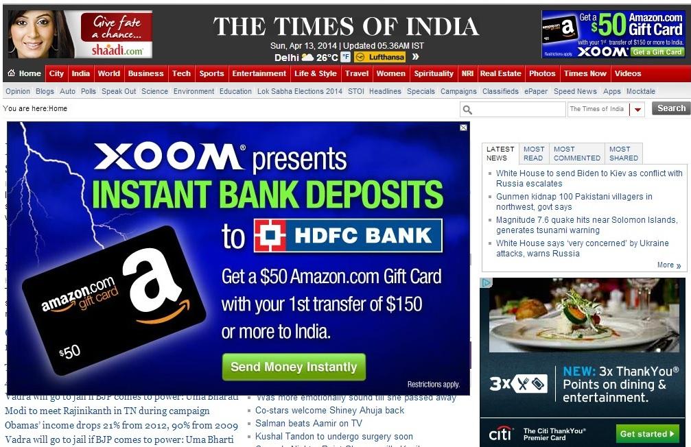 Free $50 Amazon GC - For 1st time users Xoom Money Transfer to India - Minimum amount $150 ($4.99-8.99 Fees)