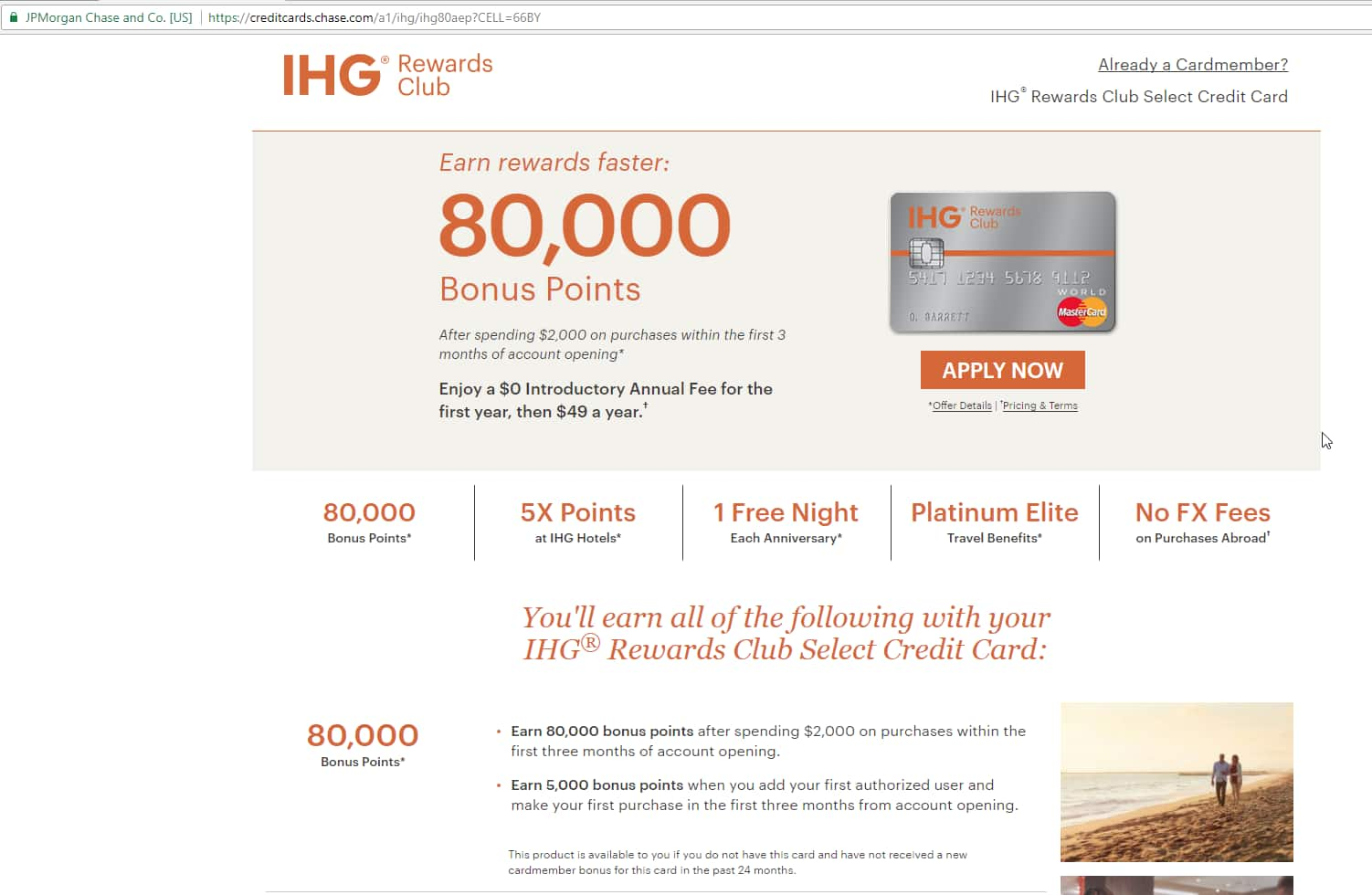 Chase IHG Rewards Club Select Credit Card 85K (80K + 5K) Points w/ $2k Spent in 1st 3-Months