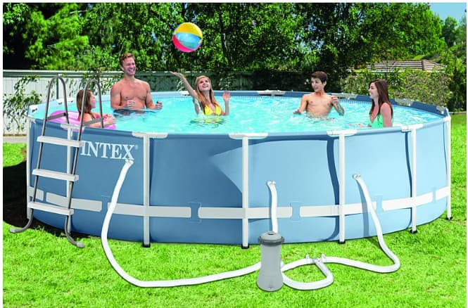"""Sears: Intex 15' x 42"""" Round Prism Frame™ Pool (1,000 gph Filter Pump, Ladder, Ground Cloth, Cover, DVD)   $199.99,  get  $127 cashback  in points,  free store pickup  YMMV"""