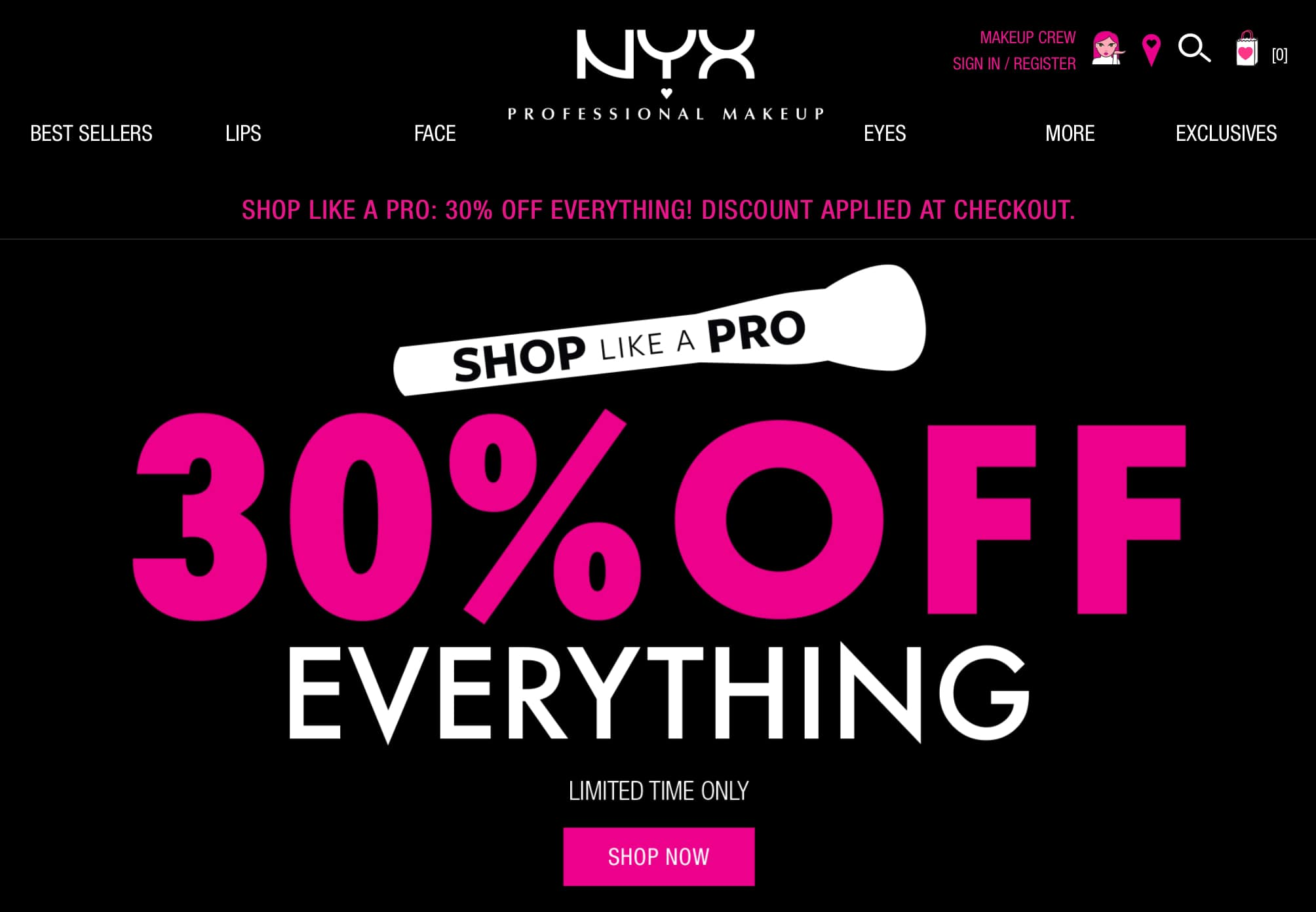30% off everything including sale items at NYX.com