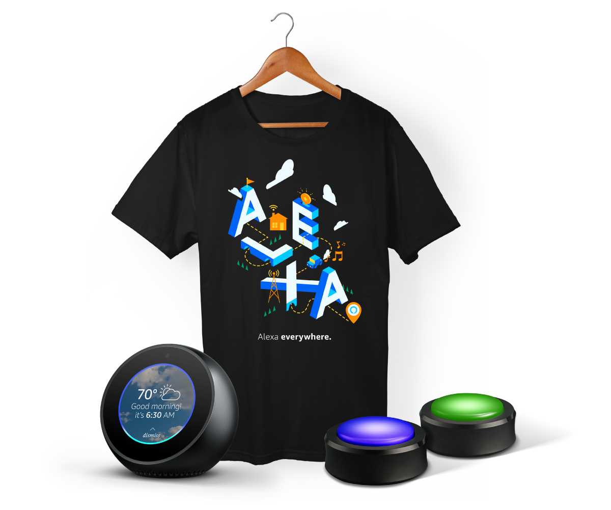 Publish Alexa Skills through 2018 to receive a T-shirt and/or receive a 2-pack of Echo Buttons and/or a chance to receive an Echo Spot