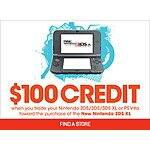 100 dollar credit for any Nintendo 2ds, 3ds or PS Vita for use towards a NEW New 3ds. Gamestop
