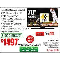 Frys Deal: Frys 70 inch 4k Sharp TV with Promo code In store only 1447.00 Frys pays sales tax!