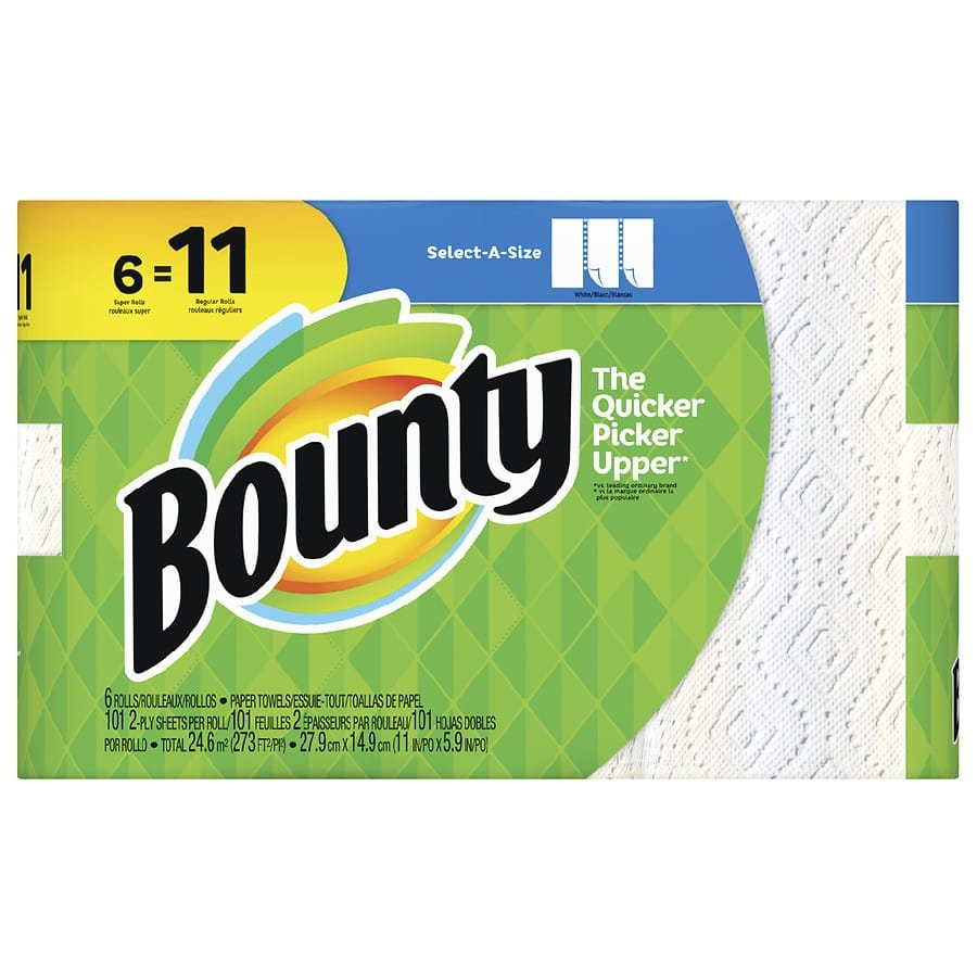 Bounty Select-A-Size, 6 Super Rolls White - for $9.99 + in store pickup - $9.99