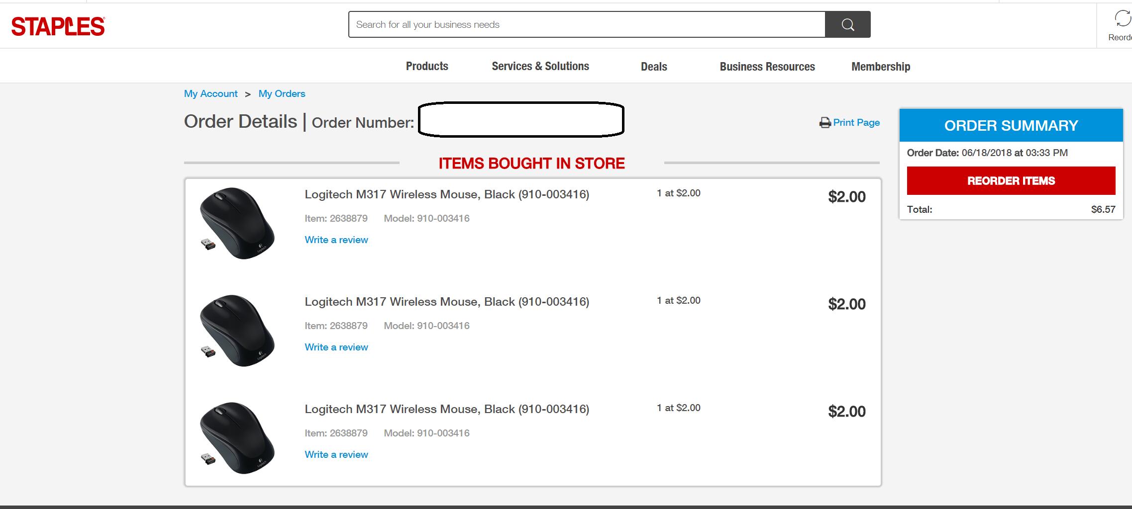 Logitech M317 Wireless Mouse $2 @Staples in Store YMMV