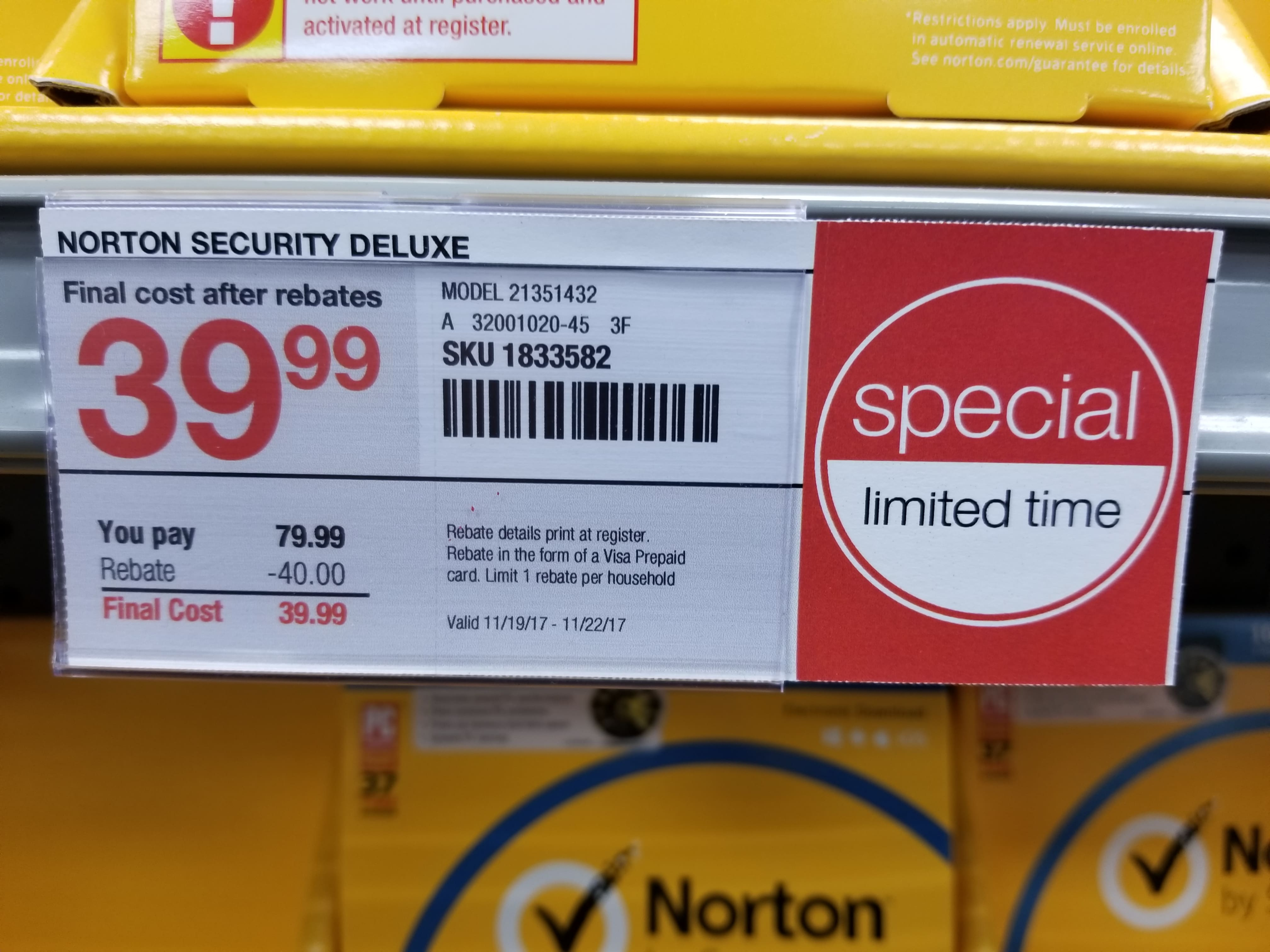 Norton Security Deluxe for 5-Devices, Staples B&M ($13.99 + $40 Visa Prepaid Card)