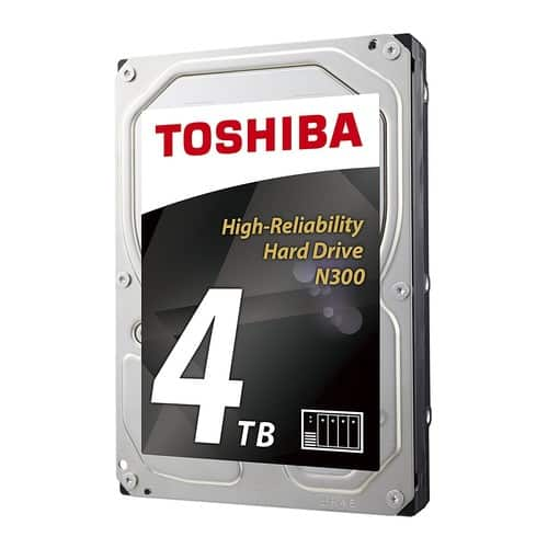 "Toshiba N300 4TB NAS 3.5"" Internal Hard Drive- SATA 6 Gb/s 7200 RPM 128MB (HDWQ140XZSTA) $95.99"