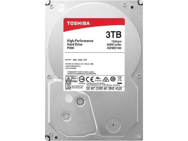 Toshiba P300 3TB Desktop PC Internal Hard Drive 7200 RPM SATA 6Gb/s 64 MB Cache 3.5 inch - HDWD130UZSVA (BULK) $64.99