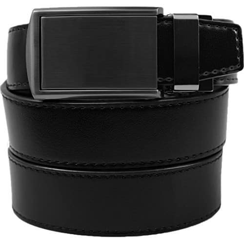 SlideBelts Men's Classic Belt - Custom Fit [Black Leather With Gunmetal Buckle (Vegan), One Size] $28.5