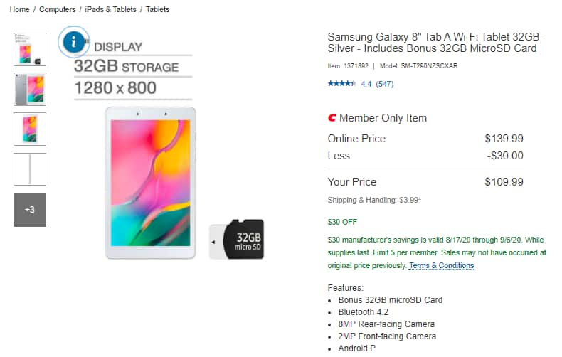 """Costco Members - Samsung Galaxy Tab A 8"""" and SD card for $109.99 at store or shipped for $3.99 more"""