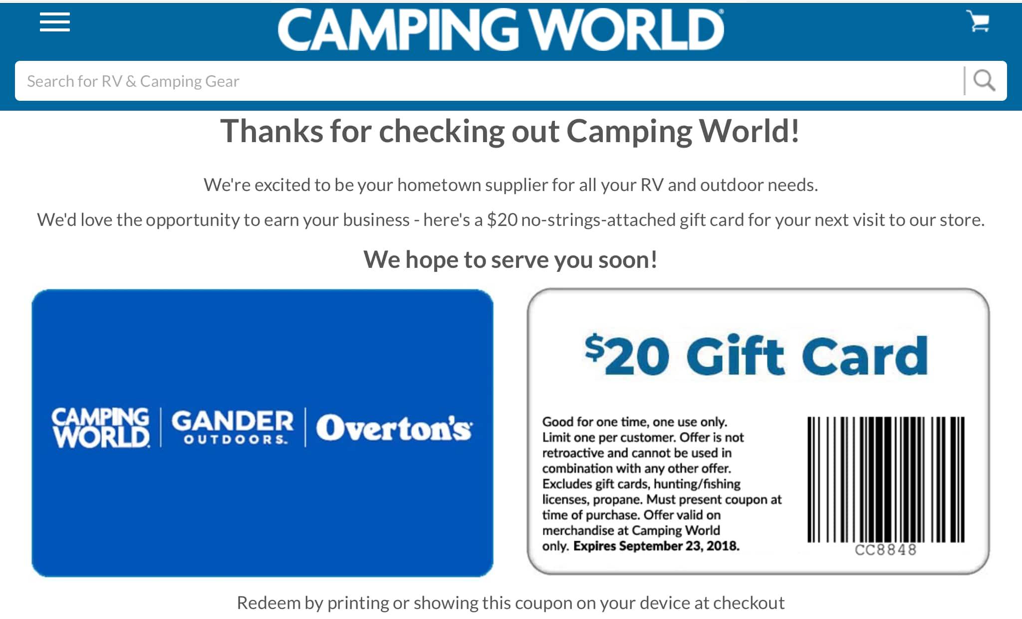 Free $20 gift card for Camping World B&M