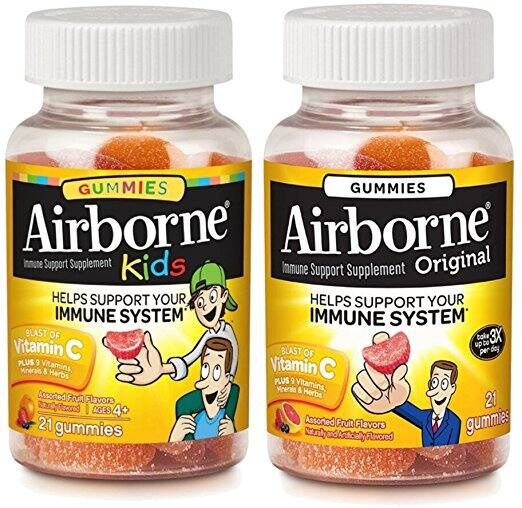 Airborne Immune Support Gummies, Assorted Fruit, Kids 21 Ct & Adult 21 Ct, 1 Ea $16.58