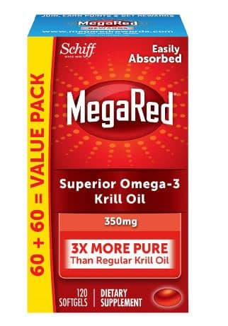 2 (Two) MegaRed 350mg Omega-3s Krill Oil Softgets 120 Count with EPA & DHA and Antioxidant $60.99