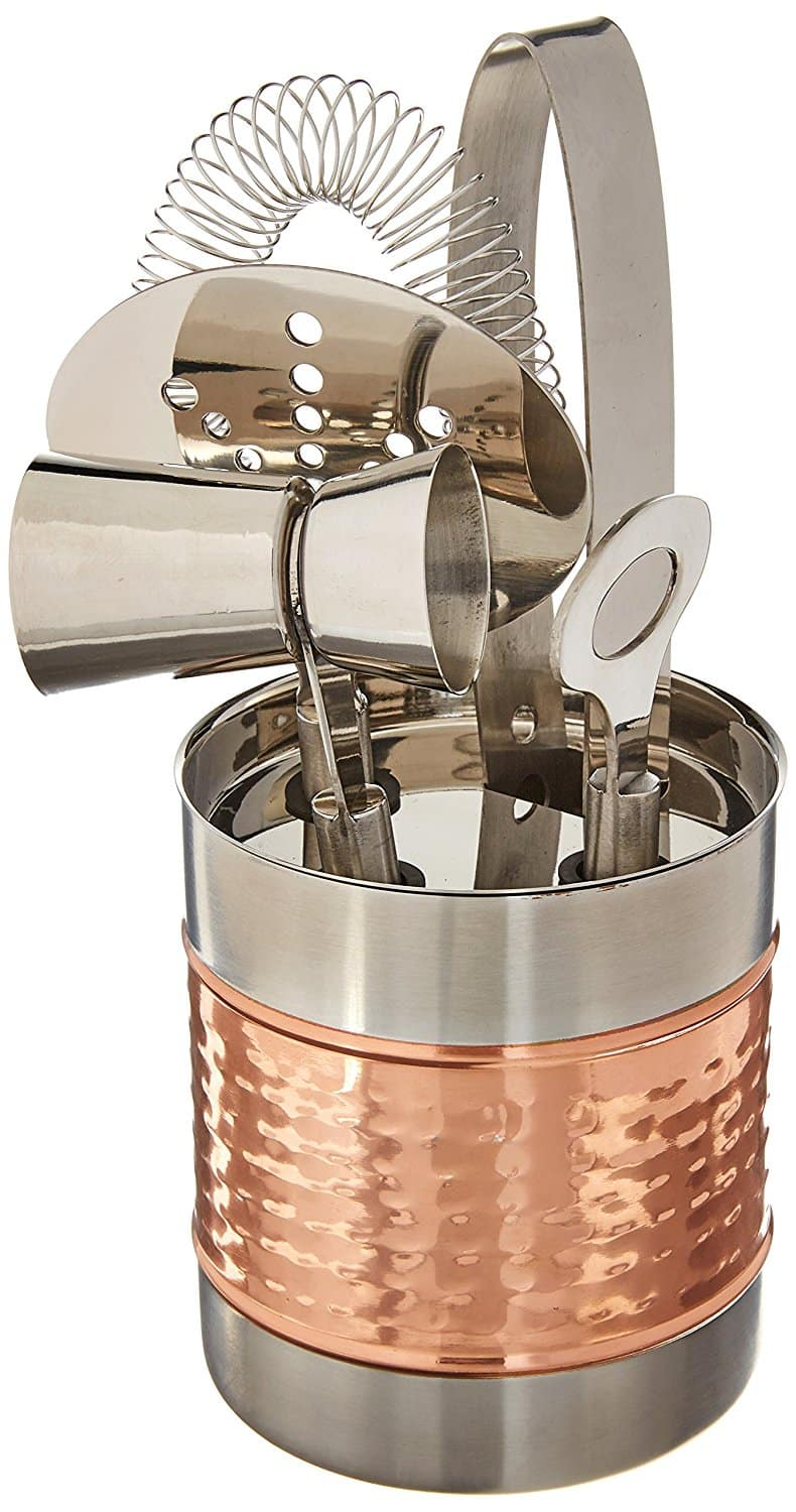 *Add on** Stainless Steel Cocktail Bar Tool Kit Set; Includes Ice Tongs, Double Jigger with Handle, Strainer, and Bar Key / Bottle Opener with Storage Rack [Copper] $5.84