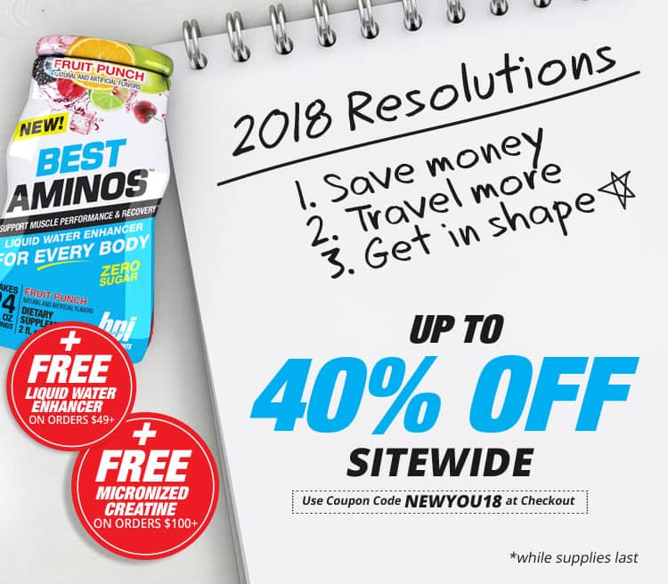 New Year Sale - Save Up To 40% Off Proteins, 35% Off Site Wide - NEWYOU18 + Free Items