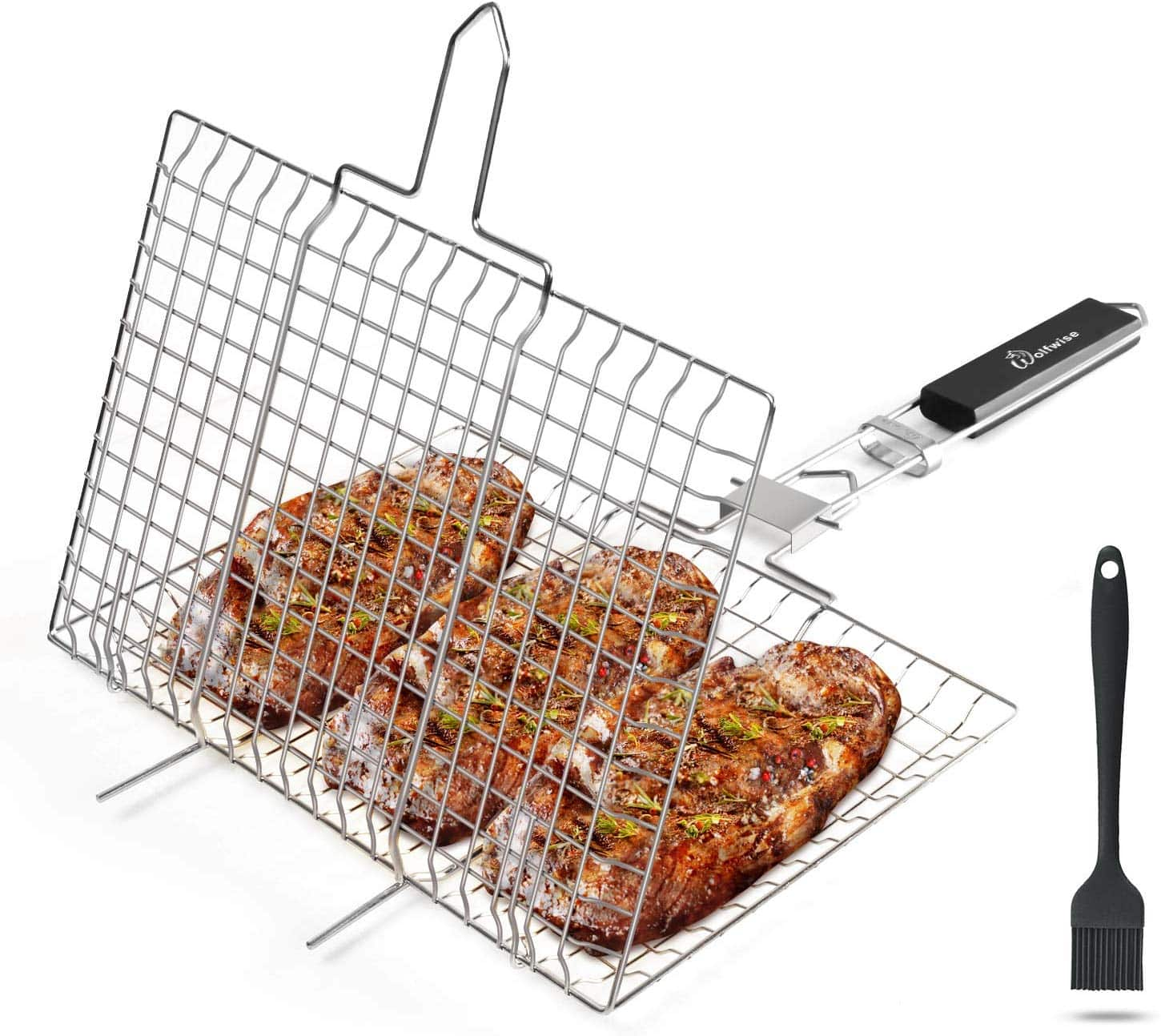 BBQ Grilling Basket with an Additional Basting Brush. 40%OFF! $9.59