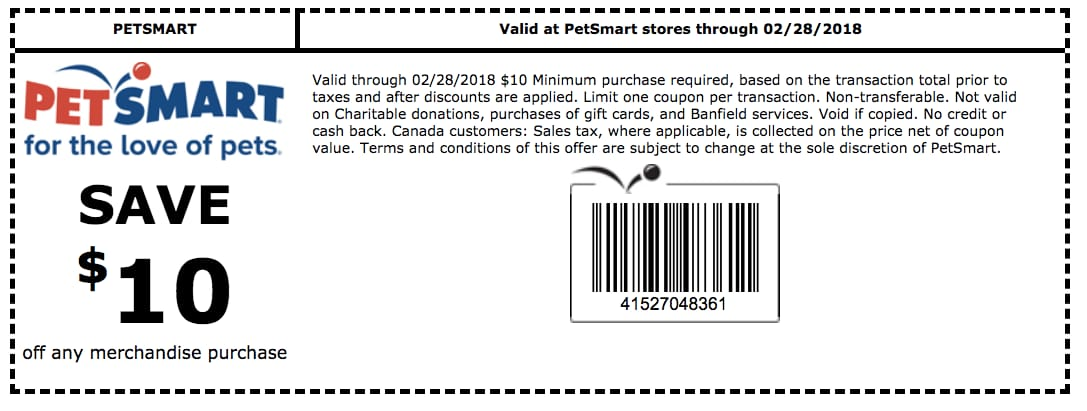 $10 off $10+ @ Petsmart good until 2-28-18 (in store) on any merchandise