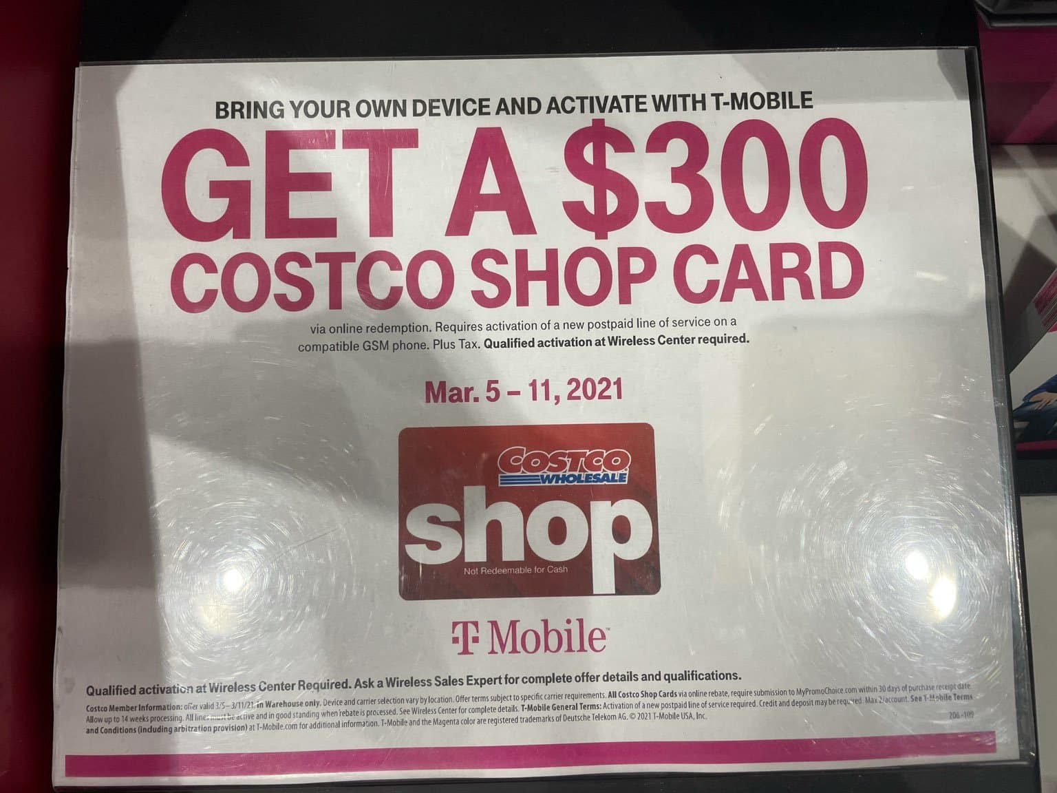 BYOD & activate with T-Mobile get a $300 Costco Shop Card