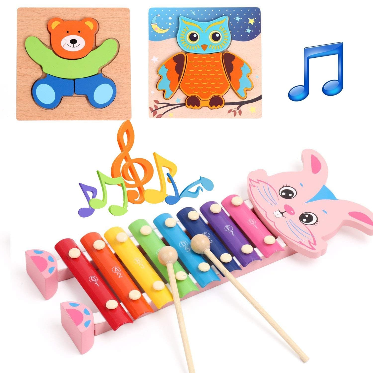 Amagoing Wooden Xylophone, Rabbit Hand Knock Percussion Musical Instruments Toys for Children Kids Baby Toddlers [rabbit xylophone] $8.99