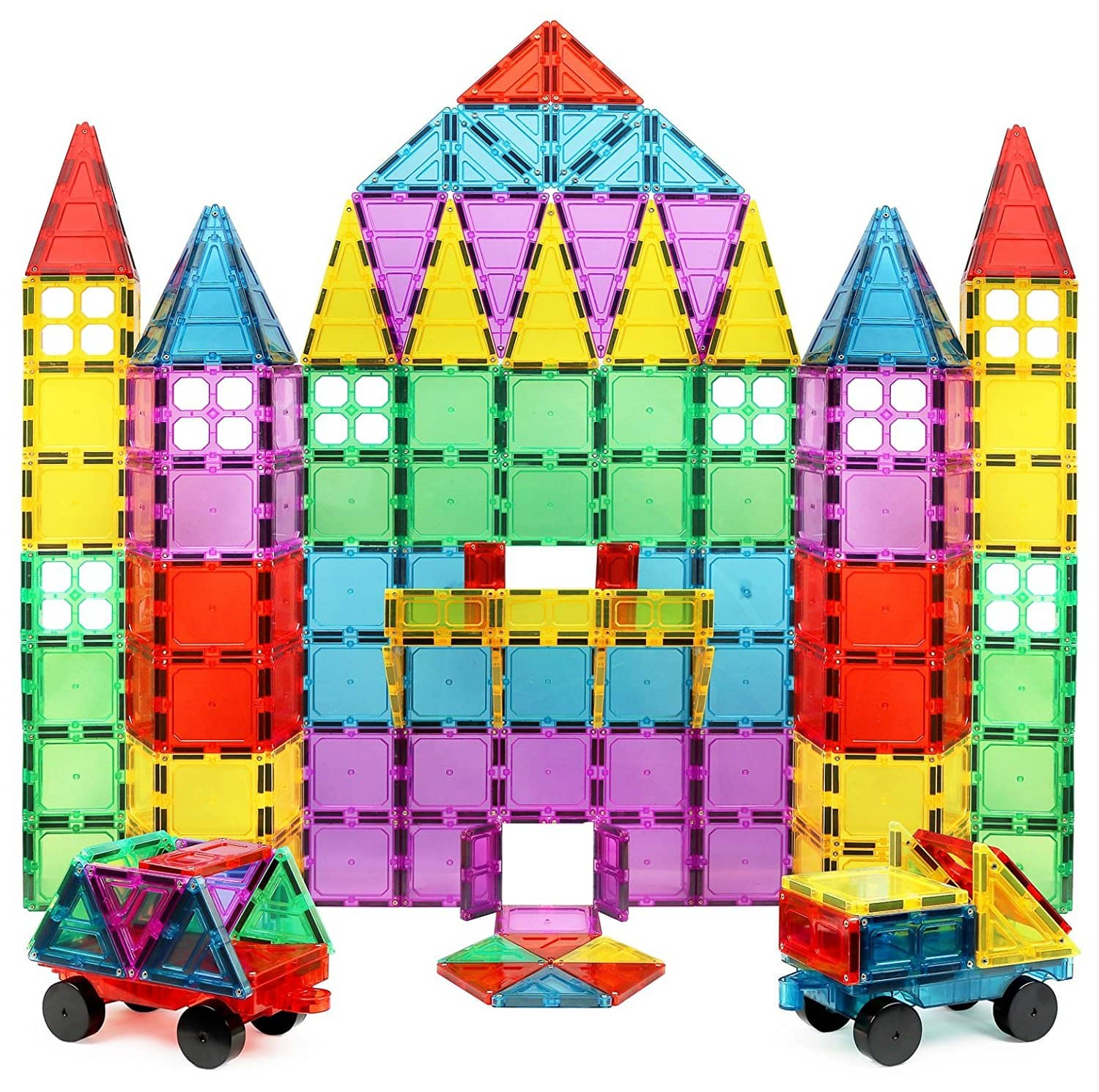 Magnet Build Deluxe 100 Piece 3D Magnetic Tile Building Set Extra Strong Magnets and Super Durable Tiles, Educational, Creative, Assorted Shapes and Vibrant Bright Colors $45.99