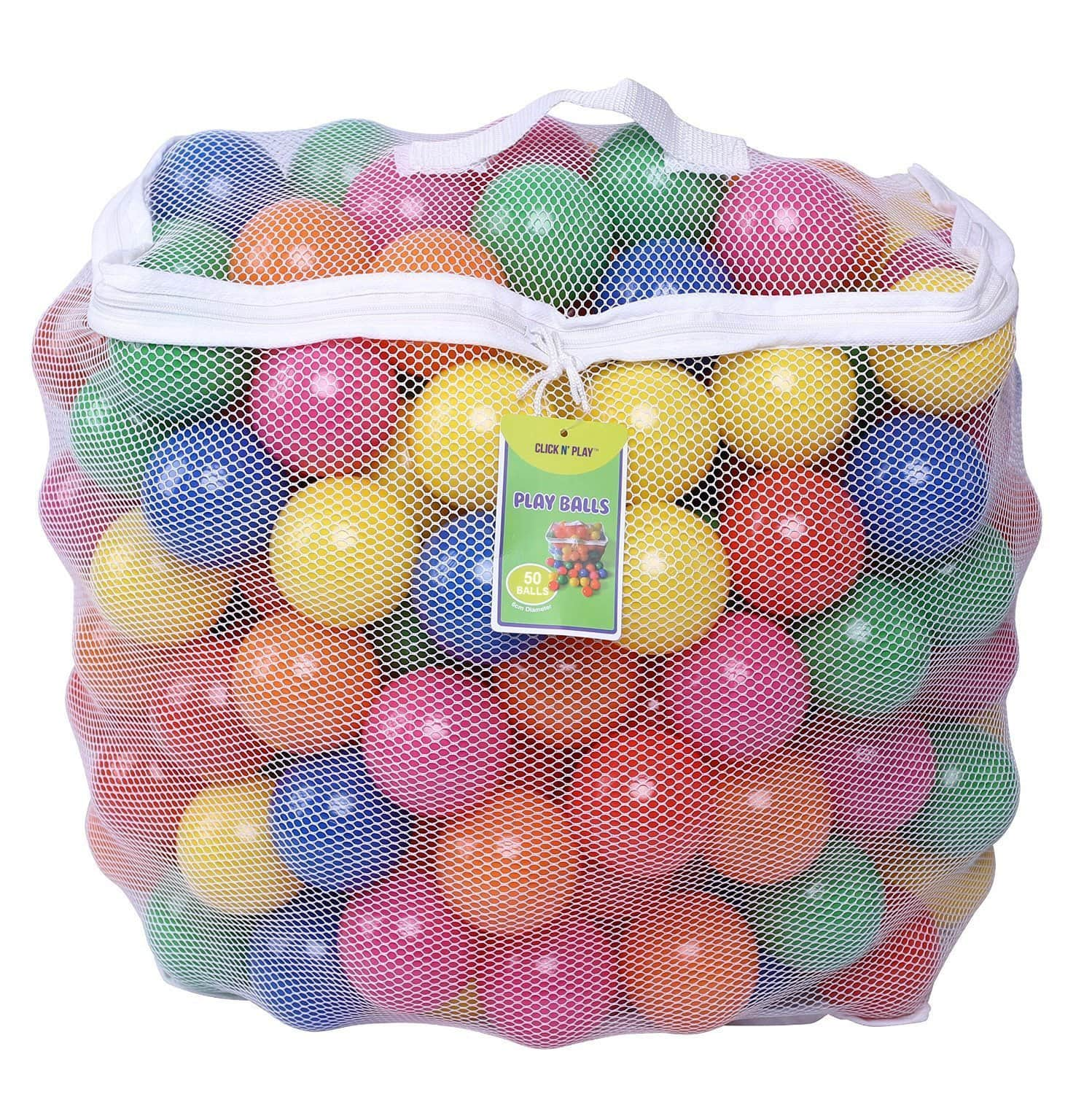 Click N' Play Pack of 50 Phthalate Free BPA Free Crush Proof Plastic Ball, Pit Balls - 6 Bright Colors in Reusable and Durable Storage Mesh Bag with Zipper $7.99
