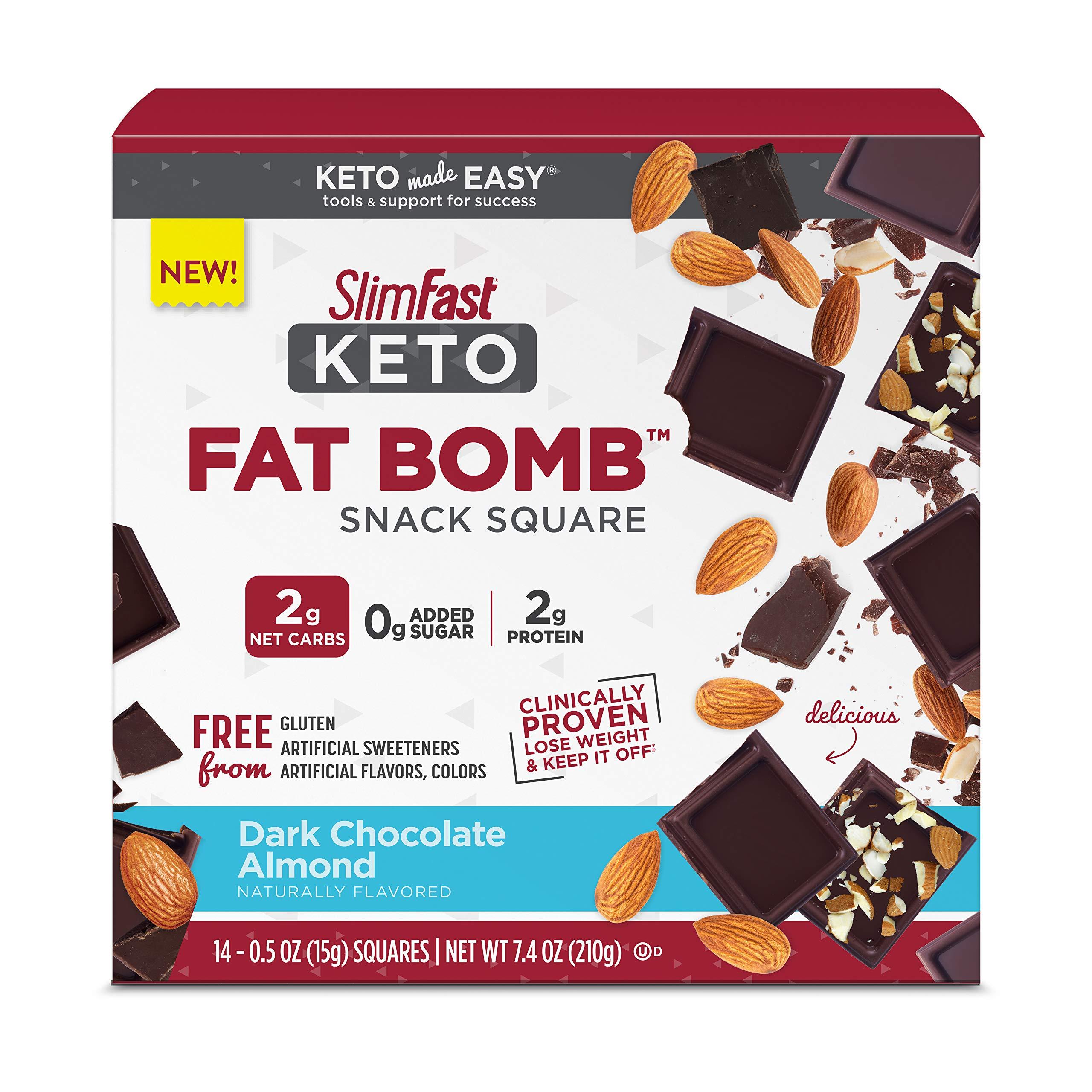 SlimFast Keto Fat Bomb Snack Squares - Dark Chocolate Almond Squares - 14 Count Box - Pantry Friendly $4.81