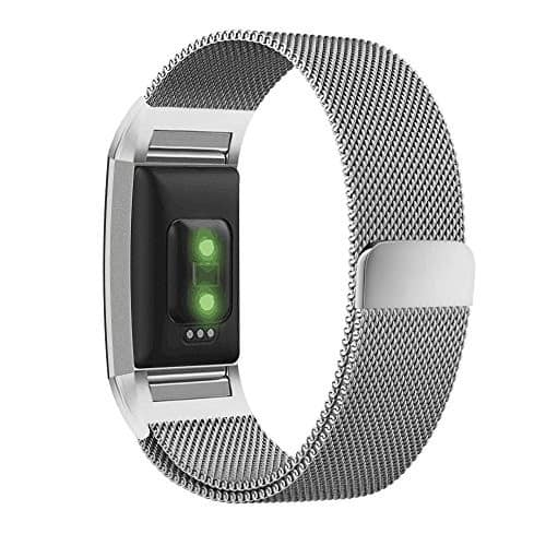 [30% OFF] UMTELE Milanese Loop Stainless Steel Metal Bracelet Strap with Unique Magnet Lock Accessories for Fitbit Charge 2 HR Fitness Tracker for $9.03