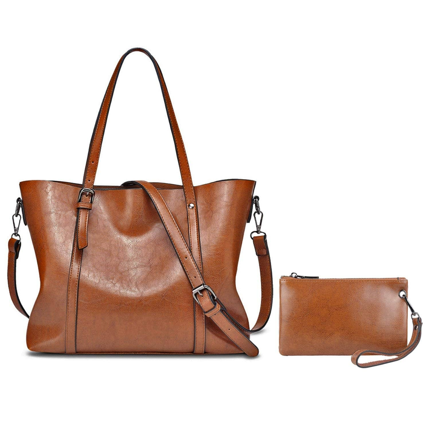 Women's Soft Leather Tote Handbag Shoulder Bag + Extra Wallet for only $47.99 + FS on Amazon