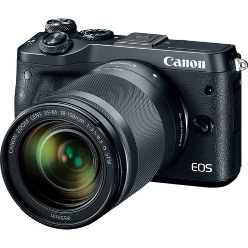 Canon EOS M6 Mirrorless Digital Camera with 18-150mm Lens (Black) $479