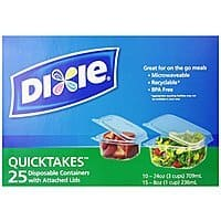 Amazon Deal: Dixie Quicktakes Disposable Food Storage Containers with Attached Lids, 25 Count $4.28 Free Shipping with Prime