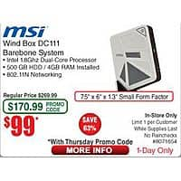 Frys Deal: MSI Wind Box DC111-049XUS Barebone $49 AR + Thursday Promo Code Fry's IN STORE only