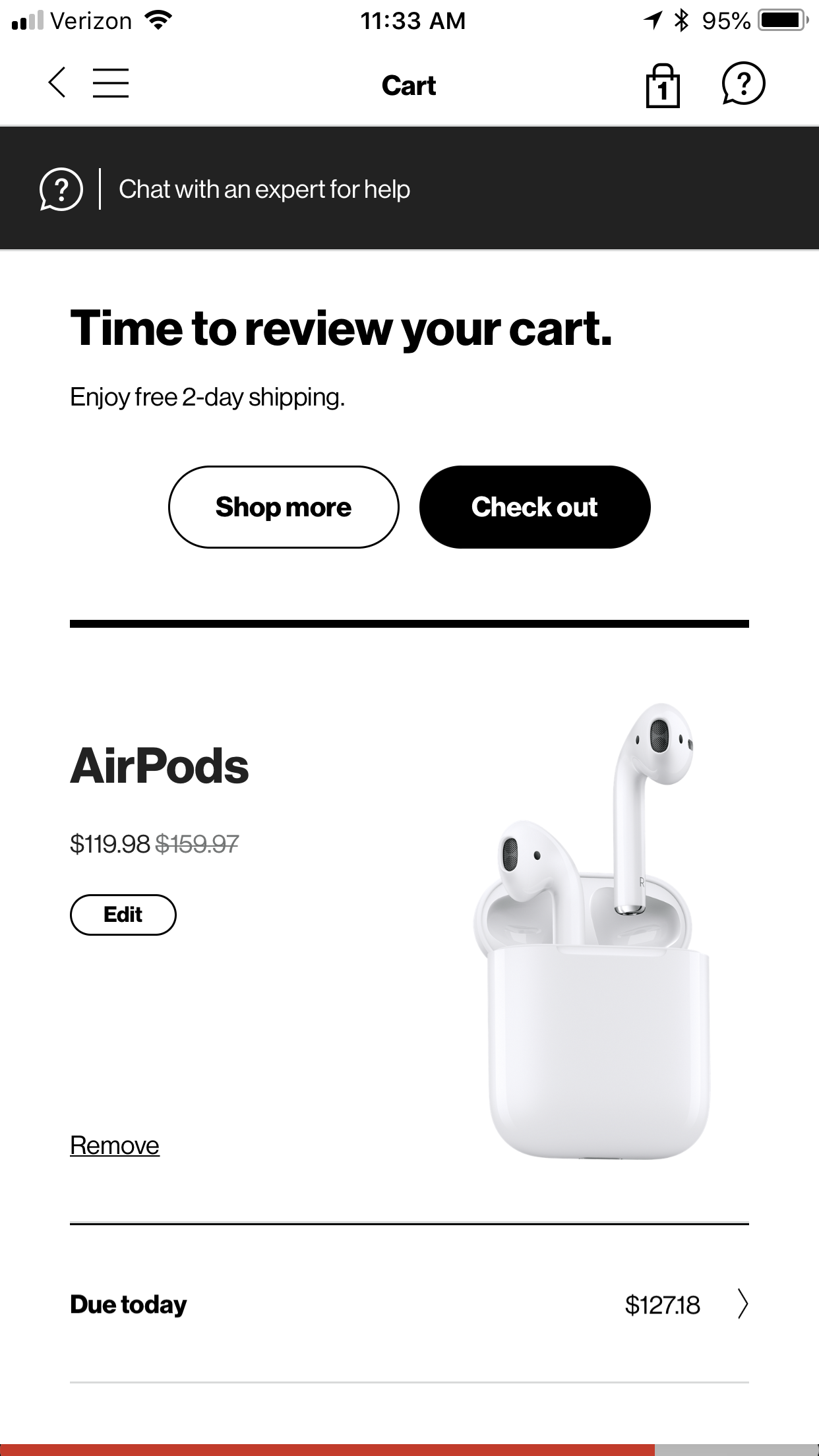 Apple Airpods on sale in My Verizon app for $119.98 $127.98