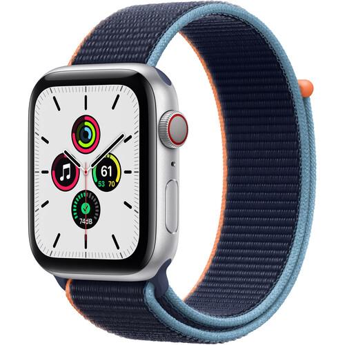 Apple Watch SE (GPS + Cellular, 44mm, Silver Aluminum, Deep Navy Sport Loop Band) $289 / Free ship