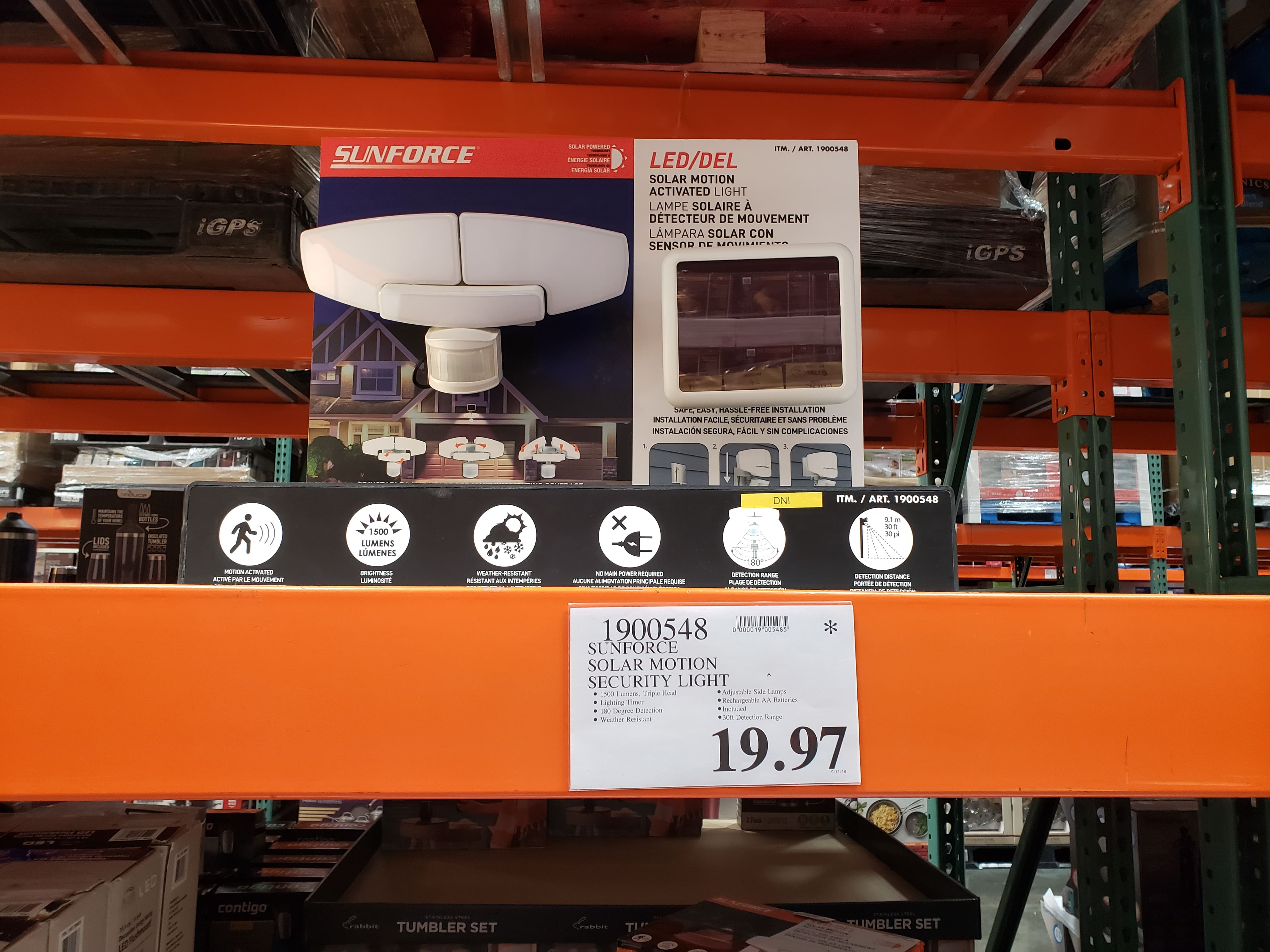 COSTCO B&M Sunforce solar motion security light 1500 lumens $19.97 YMMV