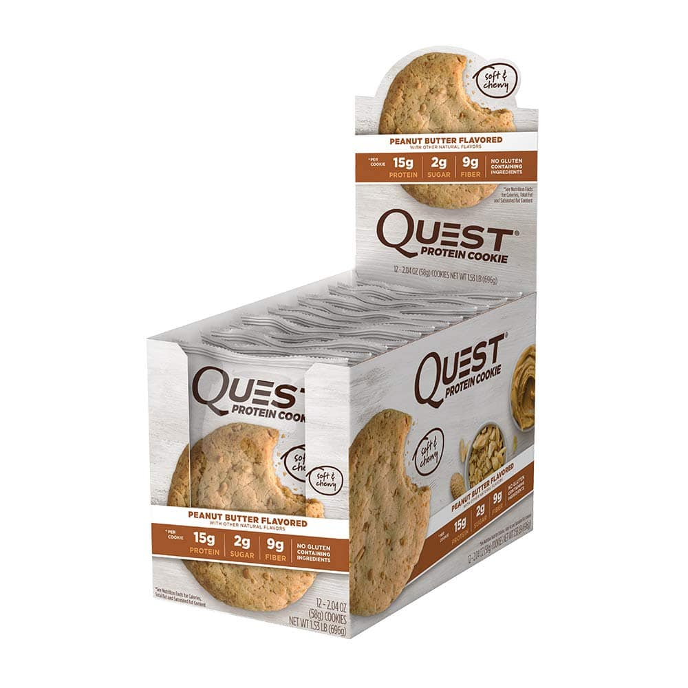 Quest Nutrition Peanut Butter Protein Cookie, High Protein, Low Carb, Gluten Free, Soy Free, 12 Count [Peanut Butter] $15.87