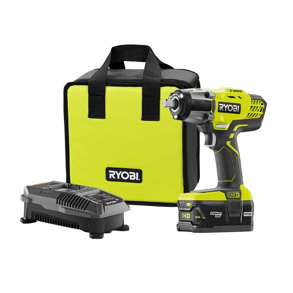"""Ryobi P261 1/2"""" High torque impact wrench w/ Charger, 4Ah battery, and bag $139 55% off"""