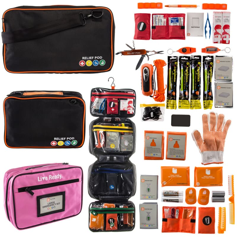 Relief Pod Portable Travel Emergency Kit First Aid & Supplies Large For $13.99 & XL for $18.99 + Free Shipping @ Dealgenius.com