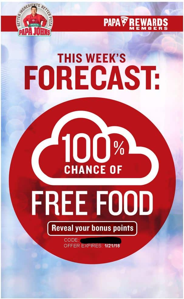 Papa Johns Free Bonus Points YMMV