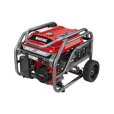 Black Max 3,600 / 4,500 Watt Portable Gas Generator ; $249.98 Sam's Club
