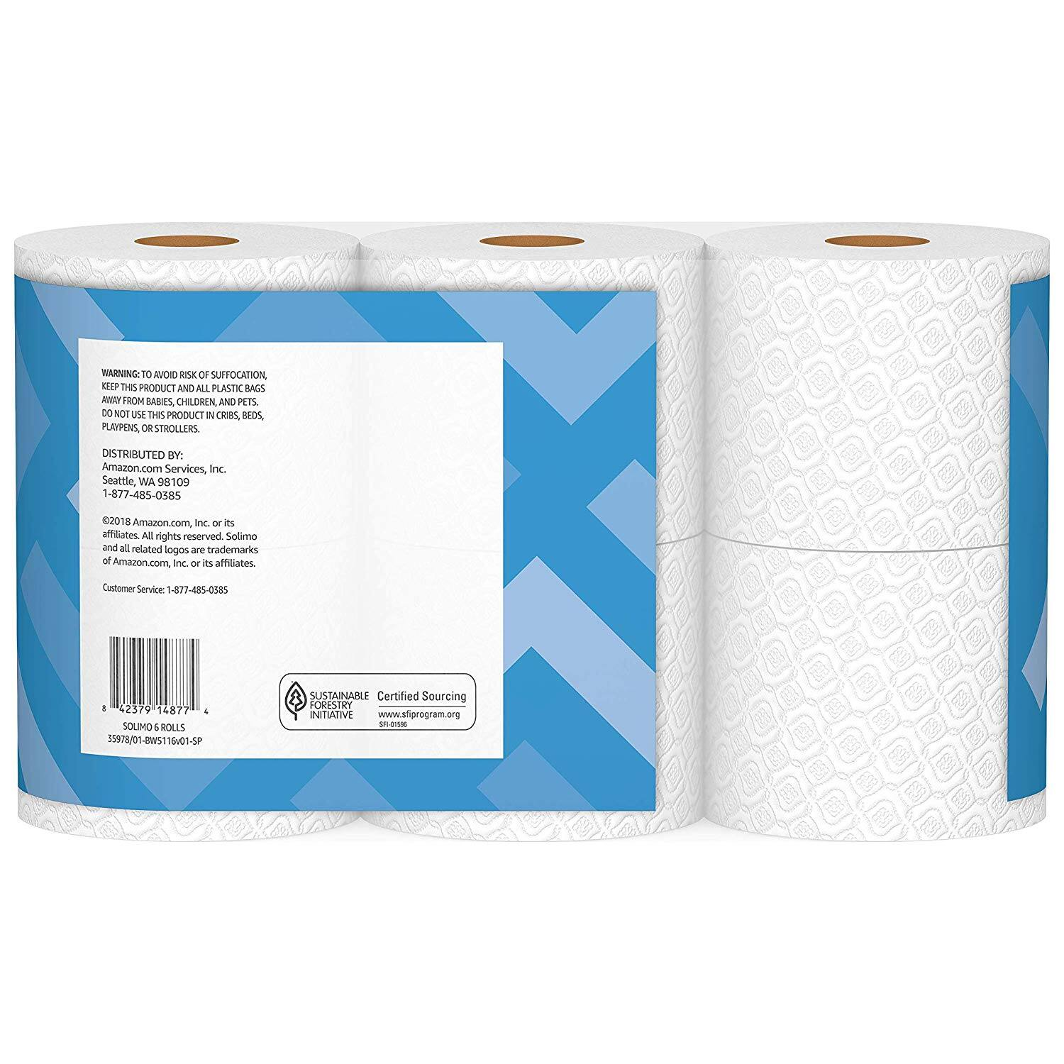 Amazon Brand - Solimo 2-Ply Toilet Paper, 6 Count $4.99