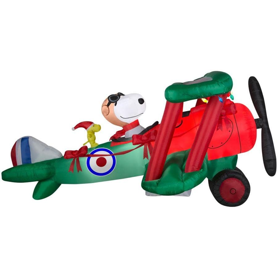 snoopy 12 ft inflatable holiday airplane lowes 9900 50 - Snoopy Blow Up Christmas Decorations