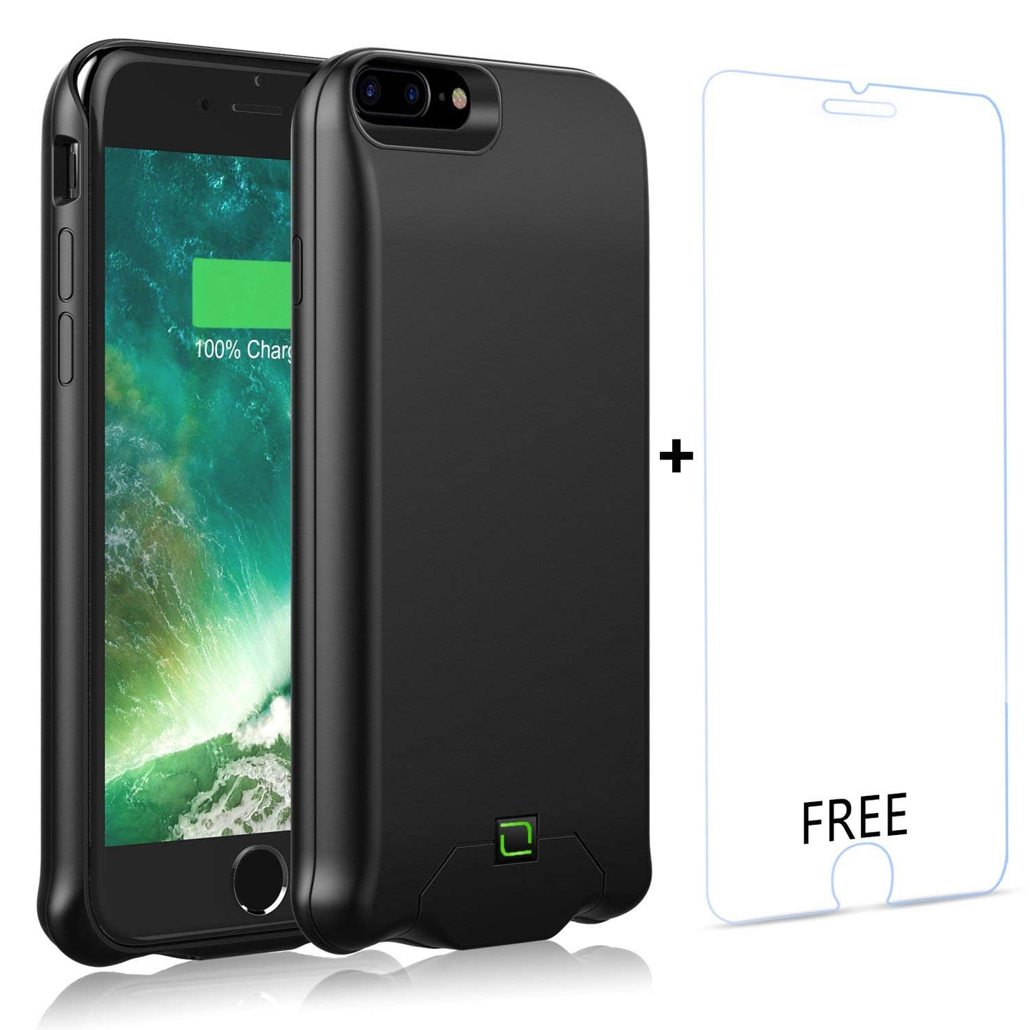 "7000mAh Portable Battery Charging Case for iPhone 8/7/6s/6 Plus w/ 5.5"" Tempered Glass Film $23.09"