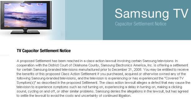 Samsung LCD/Plasma/DLP TV's Capacitor Class Action Settlement Lawsuit