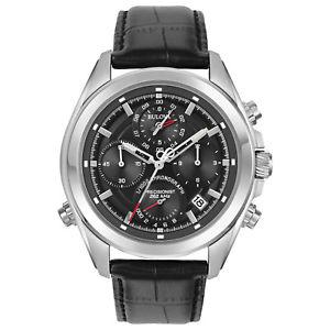 Bulova Precisionist Men's 96B259 Quartz Chronograph Leather Strap 44.5mm Watch $144.99