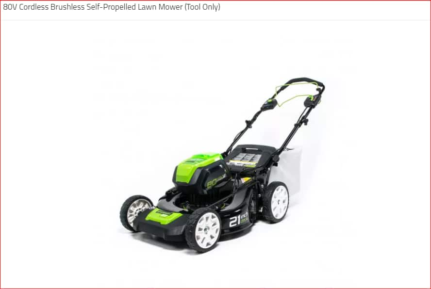 Greenworks 80V Cordless Brushless Self-Propelled Lawn Mower (Tool Only) $215.12 (no tax) + FREE Ground S/H