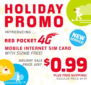 Red Pocket (AT&T)  99 CENTS FOR 512MB DATA 4G Mobile Internet SIM CARD, Standard, Nano or Micro - FREE SHIPPING holiday promo