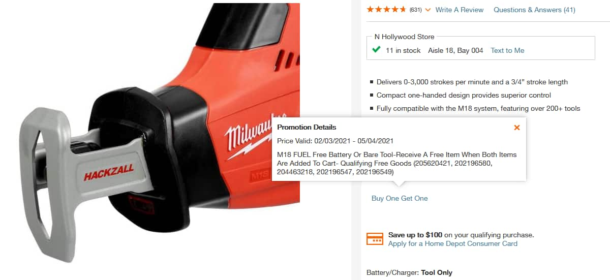 M18 18-Volt Lithium-Ion Cordless Hackzall Reciprocating Saw + Free Item $99 +Tax + Free Shipping (YMMV)